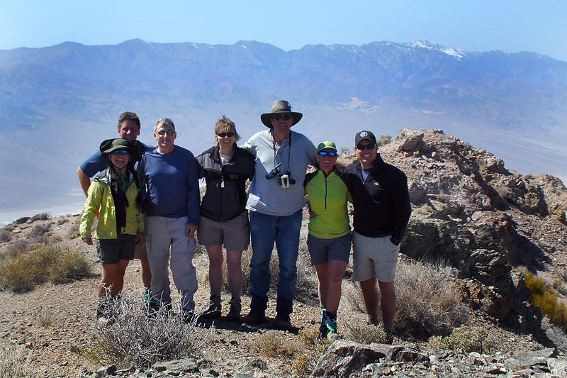 Group shot on Smith Mountain at 5,913 feet with the Panamints in the background.