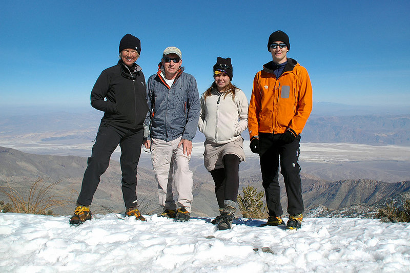 Sooz, me, Jenni and Brent on the summit of Telescope Peak. Telescope Peak is the highest spot in Death Valley at 11,049' and behind us is Badwater, the lowest at 282' below sea level.
