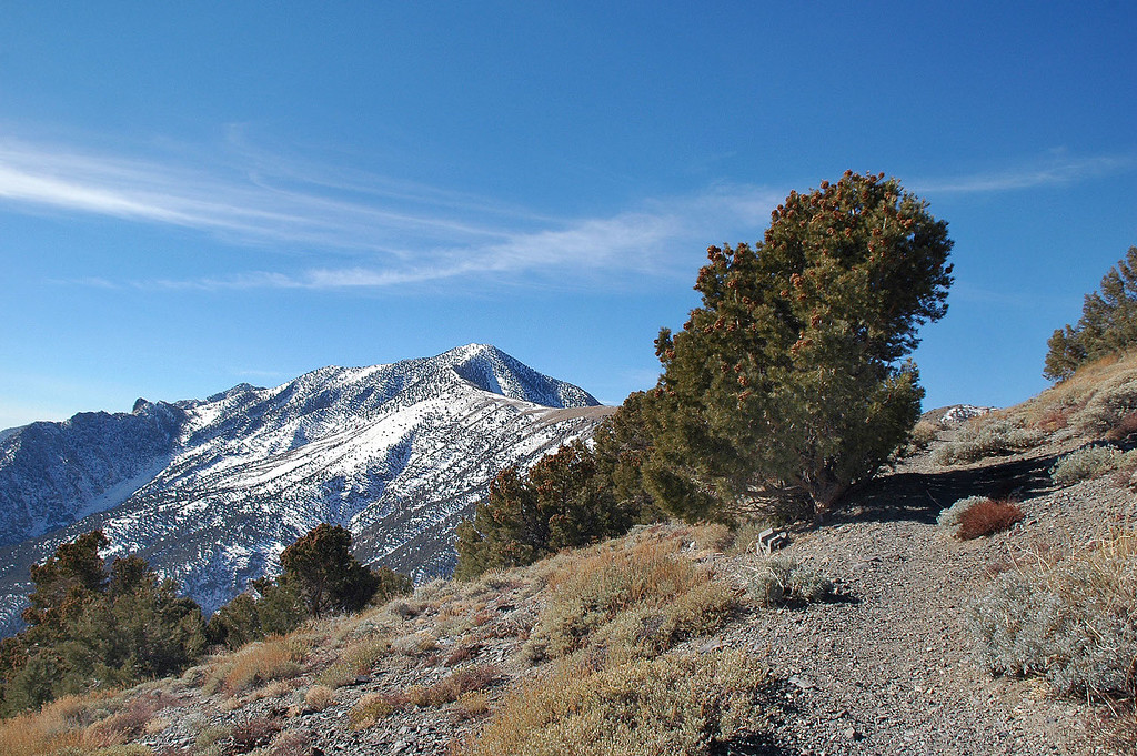 Our first view of Telescope Peak. The trail was free of snow for the next few miles.