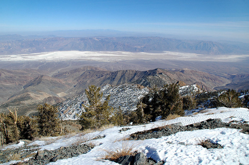 Looking down into the Badwater Basin over 11,300' below to the east.