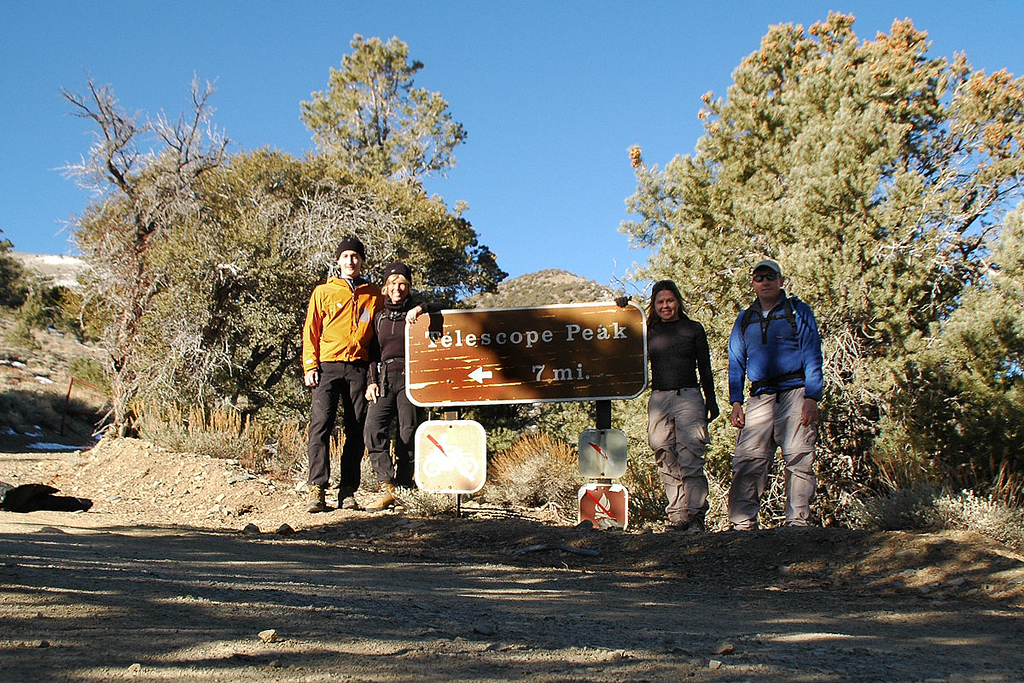 Brent, Sooz, Jenni and me, Joe at the Telescope Peak trailhead 8,130'. This is my frist time meeting Brent. I've met Jenni last August in the Sierra when I helped with a resupply for her group that were doing the JMT.