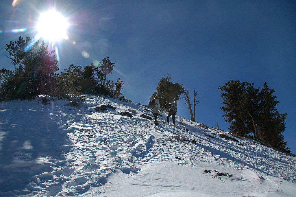 Jenni and Sooz about half way up the ridge. Snow was icy in the shaded areas.