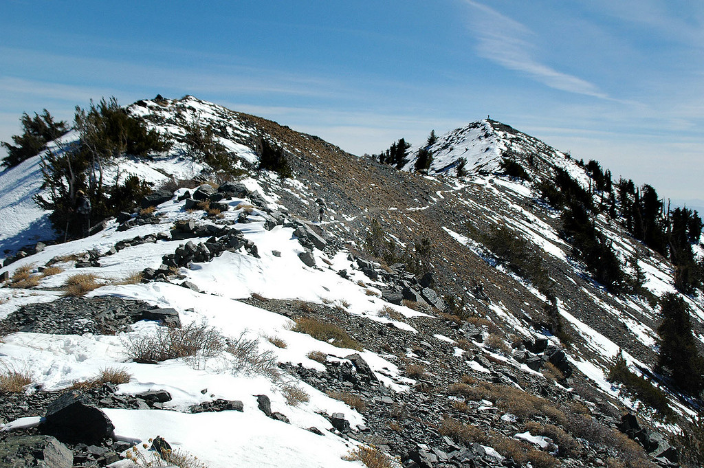 My first view of the actual summit. Brent is already there, standing on top.