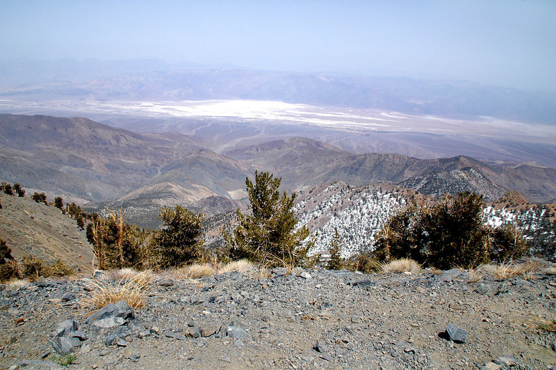 Looking down to the east at the Badwater Basin, at 282 feet below sealevel, the lowest point in Death Valley.