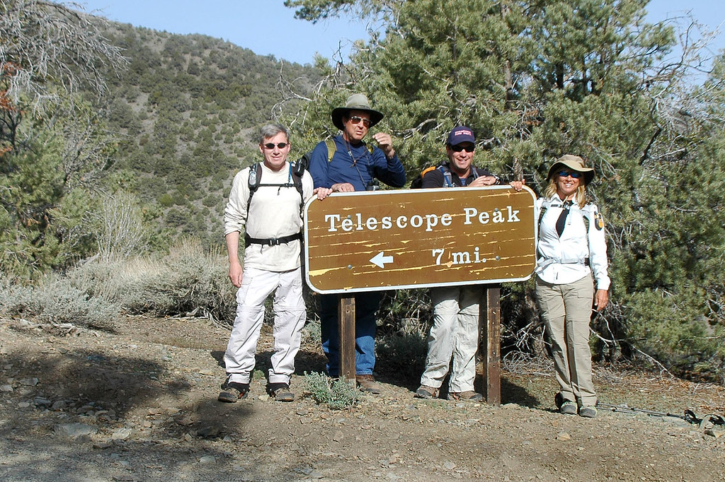 The next morning, Joe (me), Tom G, Chip and Sooz at the trailhead at about 8,100 feet.