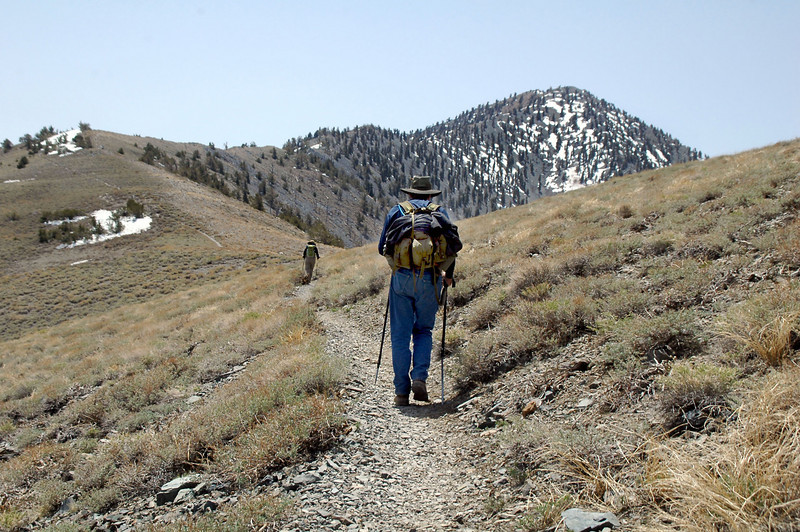 This hike starts steep, has about a two mile fairly flat section in the middle which we are on now and finishes with steep switchbacks that lead to the peak.