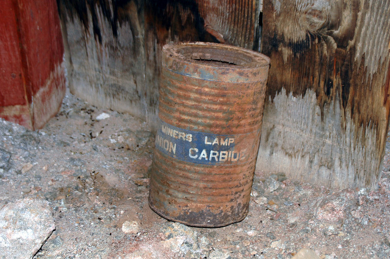 This can was at the mine's entrance. The carbide was used as fuel for the miner's lamps.