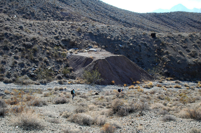 Large tailings pile at the mine.