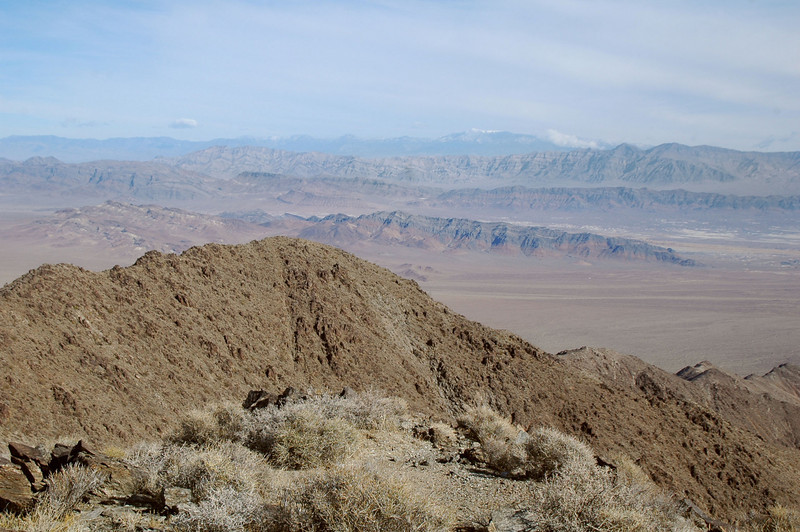 Looking east into Nevada towards Charleston Peak in the distance.