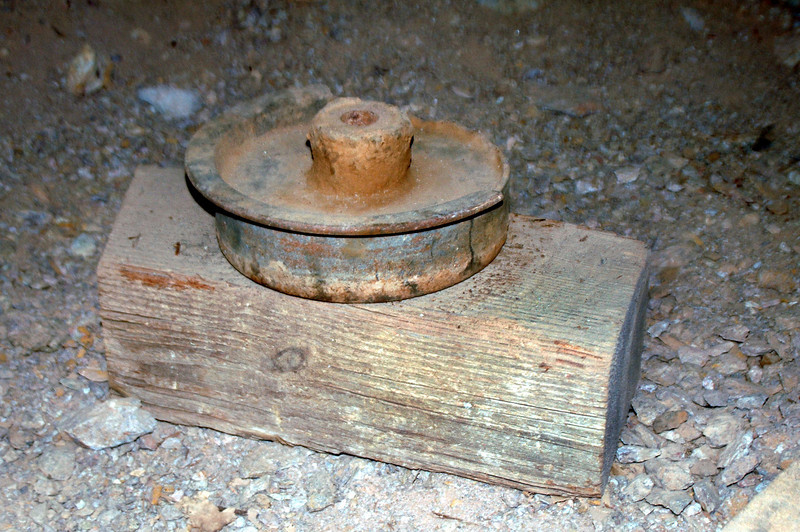 Wheel from a mine car.