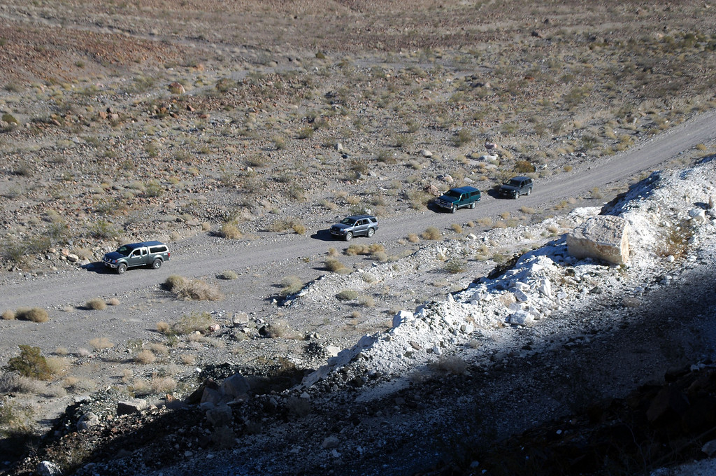 The next day we drove up Warm Spring Canyon. Our vehicles down on the road as we checked out one of the mines in the canyon.