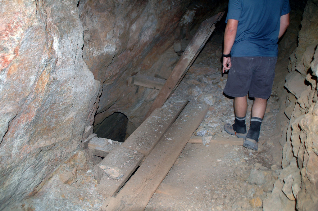 As we walked into the tunnel, we came upon a series of shafts going down to a lower level.