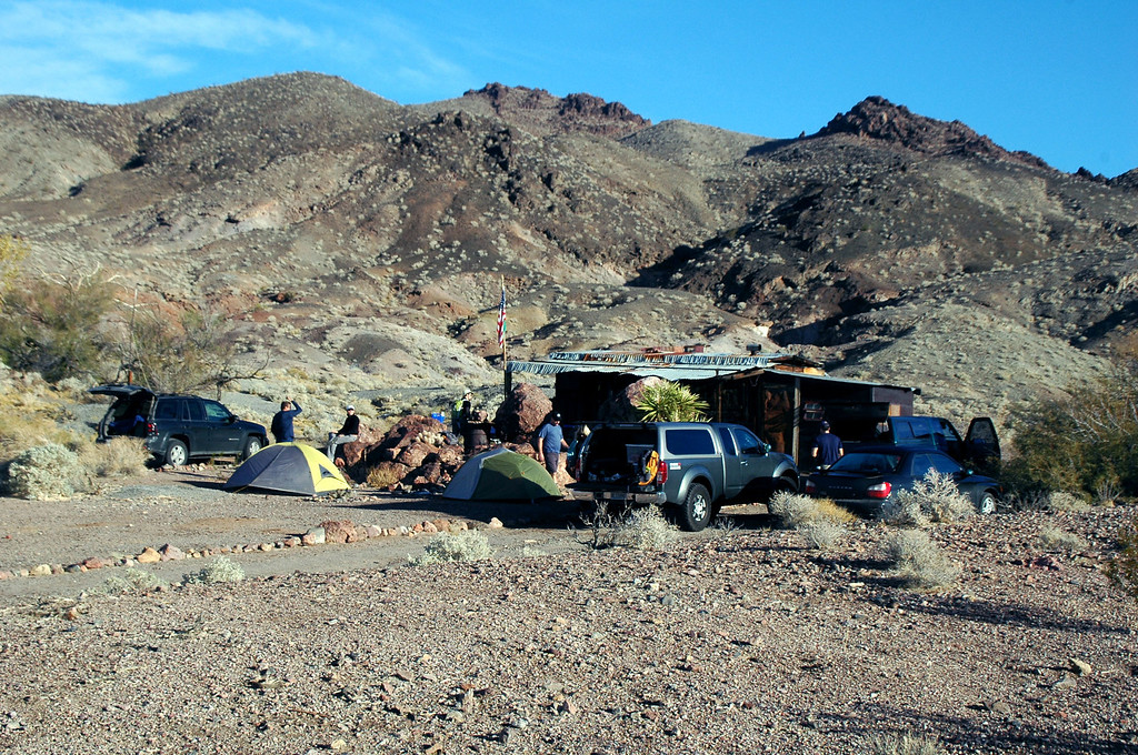 The next morning, getting ready for the hike up Ibex Peak. TomG showed up late last night.