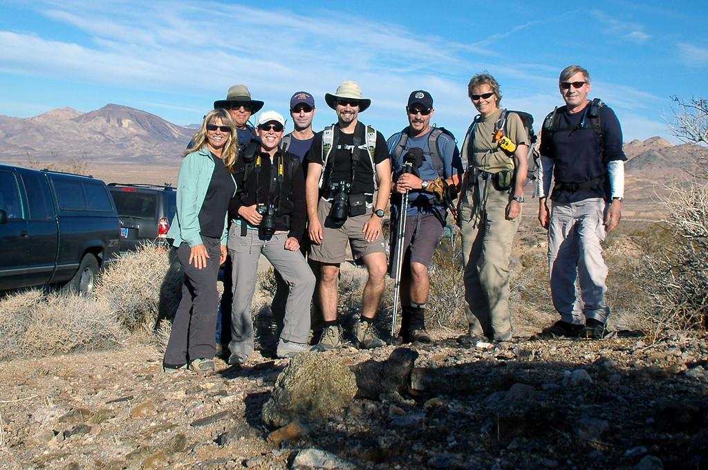Sooz, TomG, Rebecca, Jeff, Dave, Chip, Robin and Joe(me). The hike to Ibex Peak starts here south of Hwy 178.