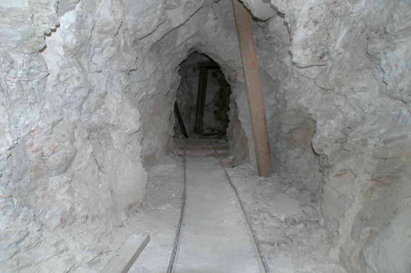 The tunnel was only about a hundred feet long, but this one still had the tracks for the ore cars.