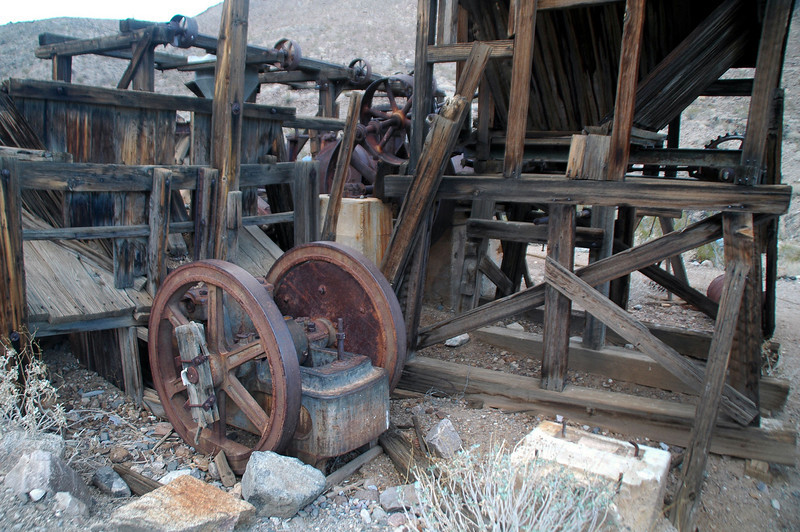 This mining equipment at the site came from the Gold Hill Mine.