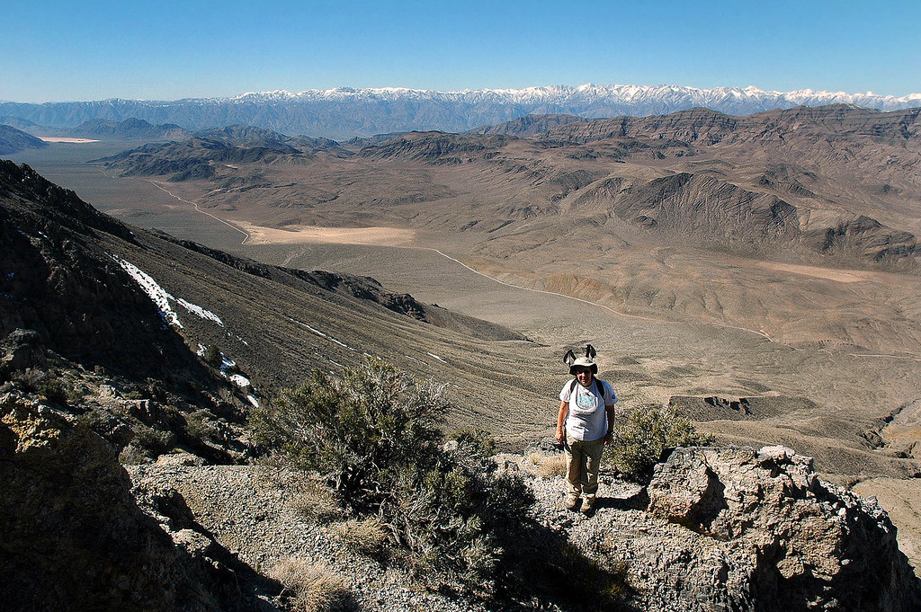 Alison with a view to the southwest. This was the first peak she climbed.