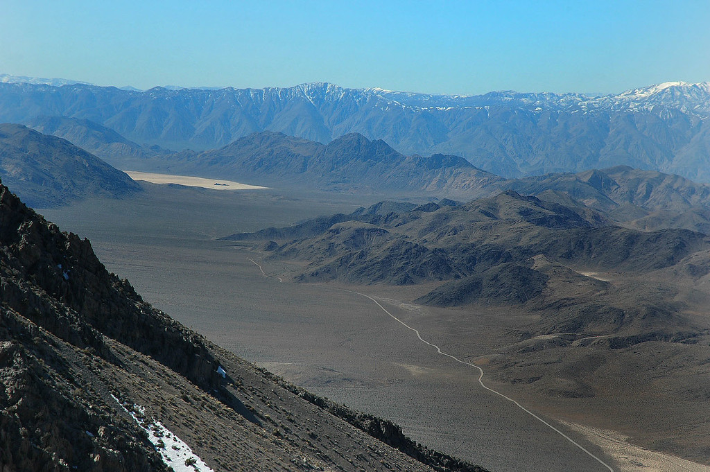Zoomed in on the Racetrack and Ubehebe Peak to the right of it.