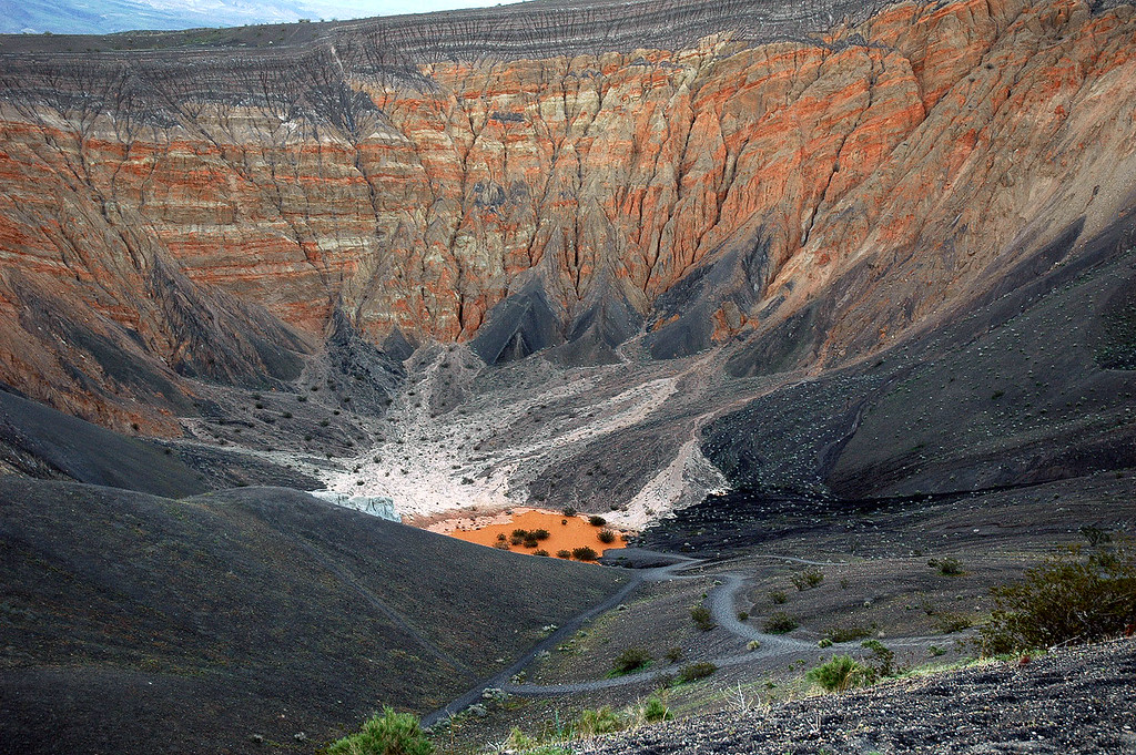Looking into Ubehebe Crater. Took a few photos while waiting to see who else shows up.