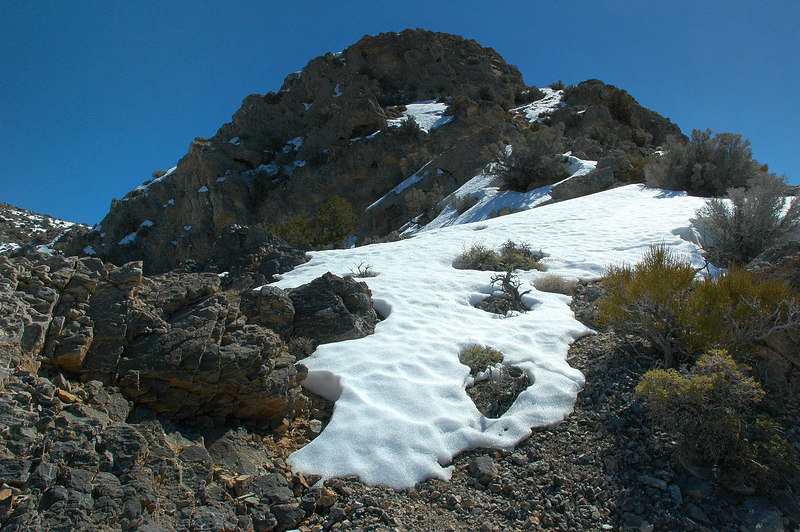 The first patch of snow we came upon. This peak is just a bump we had to get over