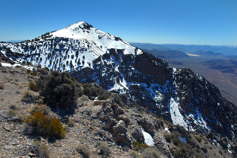 Still a lot of snow on the north side of this unnamed peak.