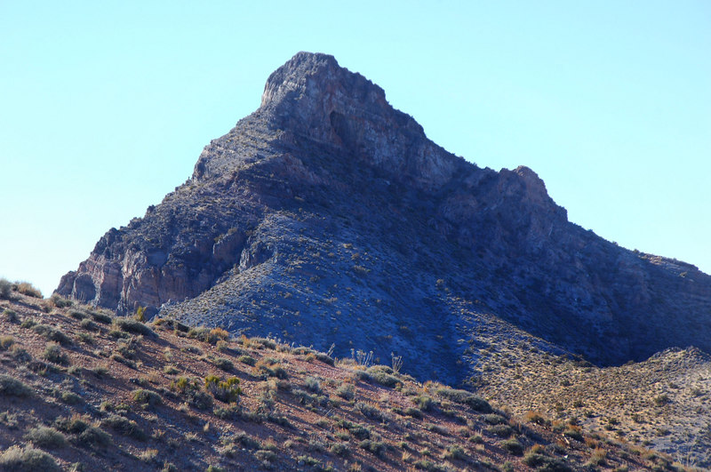 Zoomed in on the peak. From this view we were wondering how to climb it.