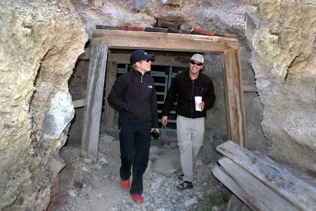 Rebecca and Dave in front of the sealed mine at Leadfield.