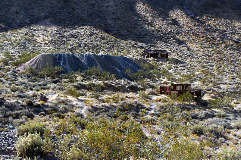 Tailings pile and shacks at Leadfied.