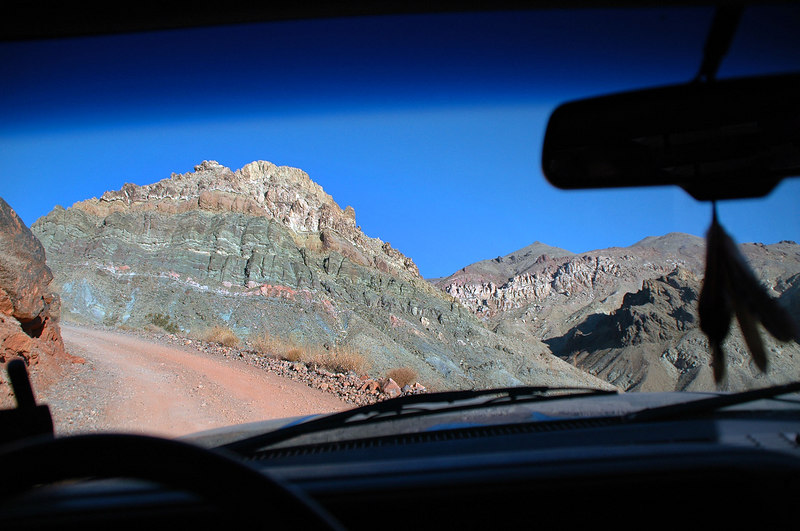 On the Titus Canyon Road heading to Red Pass from where our hike to Thimble Peak will begin.
