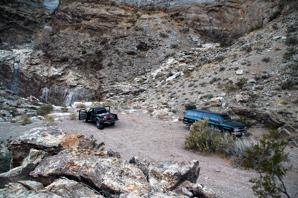 We found a nicer campsite at the end of a dirt road in the Funeral Mountains. Just in front of John's truck is a 50' dry falls.