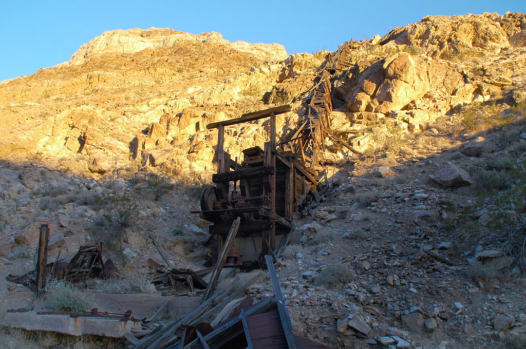 This is the stamp mill and a chute leading to it. The mine shaft was above.