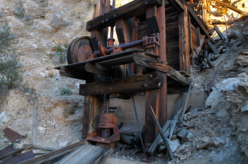 Closer look at the stamp mill.