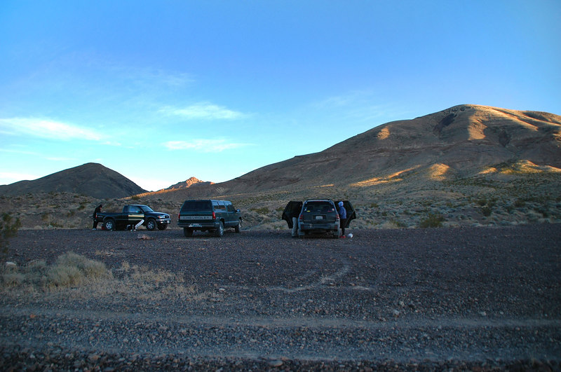 Our campsite in the morning. Packing up and getting ready to head to Titus Canyon.