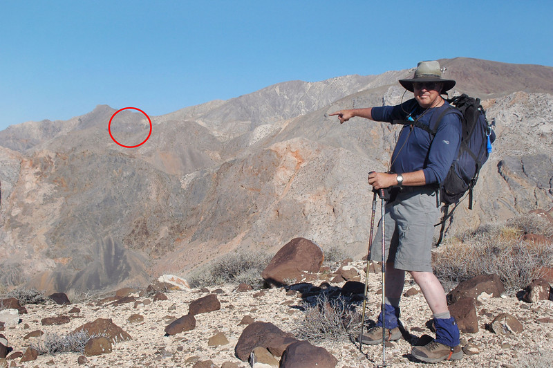 TomG pointing to the Albatross across Dolomite Canyon.