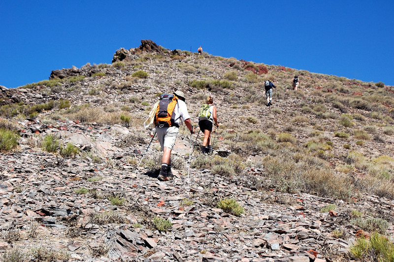Approaching the summit of Towne Peak which is a short distance past the rock pile up ahead.