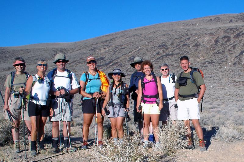 Robin, Sooz, Chip, Laura, Cori, TomG, Kathy, Joe(me) and TomB ready for the hike to Towne Peak.