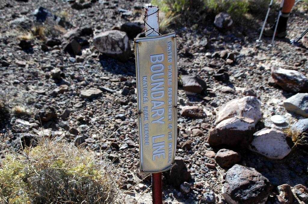 We followed the old Death Valley boundary line to the peak. In 1994 Death Valley was designated a National Park and grew by 1,200,000 acres. This old bounary line is now well within the park.