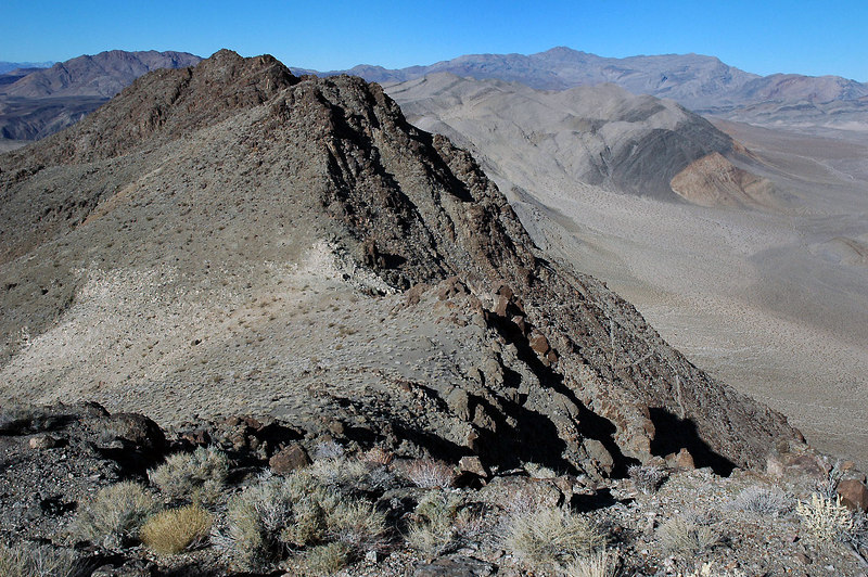 Looking back down at the saddle and the switchbacks leading to it as I hike on.