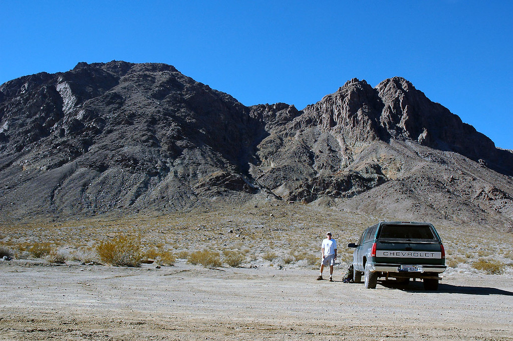 At the base of Ubehebe Peak, the one on the left. Last year I tried this hike and ended up on the peak on the right.