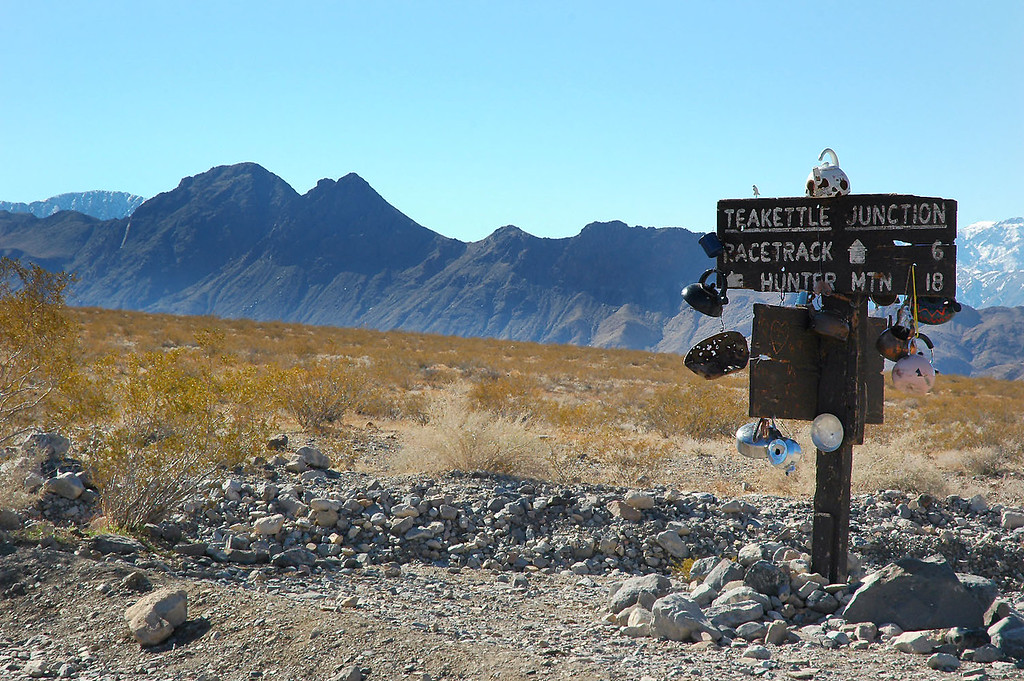 At Teakettle Junction. Ubehebe Peak is the one on the left.