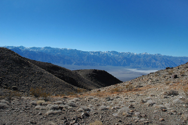 On the saddle with a view of the Inyo Mountains to the west.