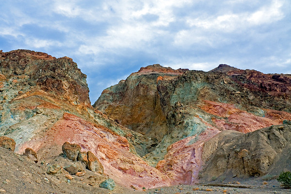 Multi-colored badlands of the Artist's Drive geologic formation in Death Valley National Park.