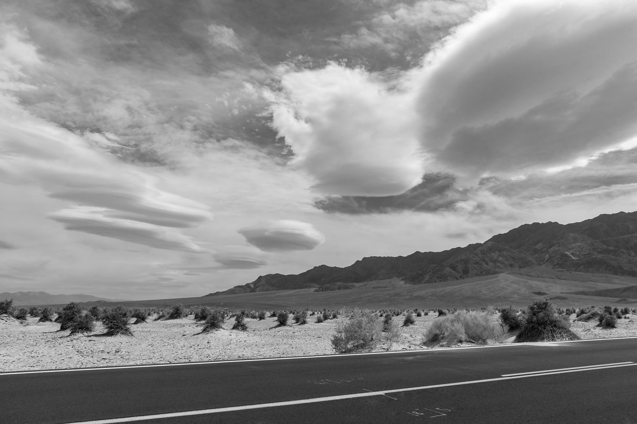 Lenticular Clouds form over Death Valley