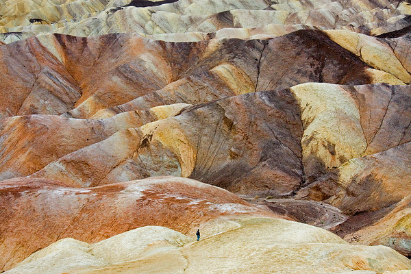 Hiking the colorful clay and mudstone badlands of Death Valley National Park.