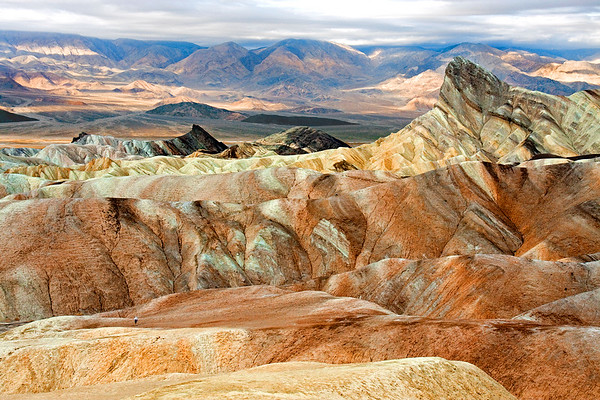 Hiking the badlands near Zabriskie Point at Death Valley National Park.