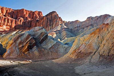 """""""Red Cathedral"""" cliffs in Golden Canyon at Death Valley National Park."""