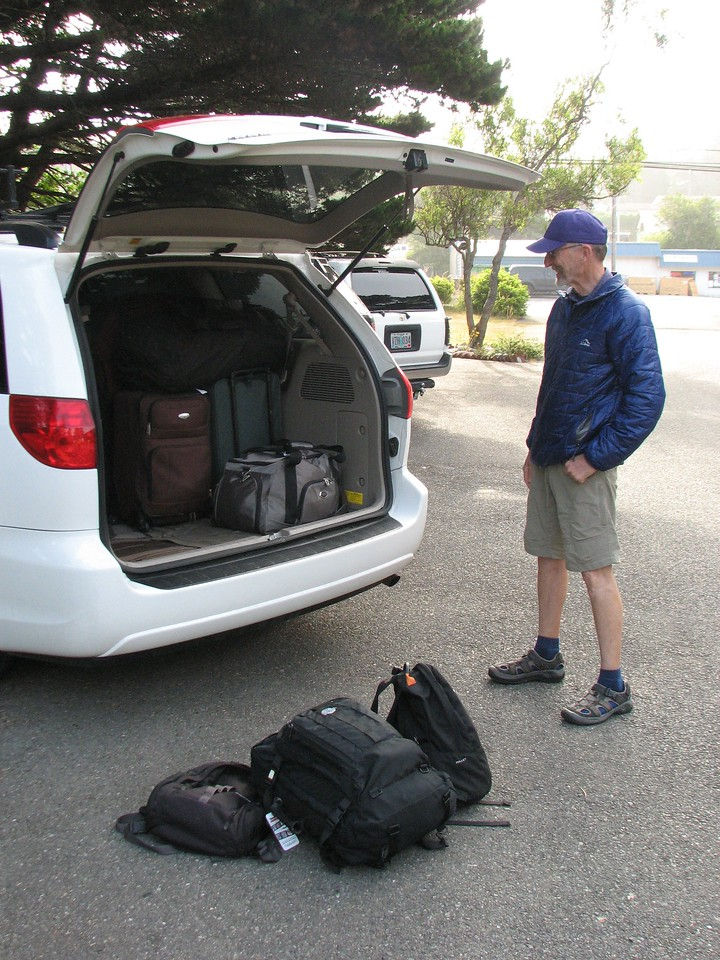 Day 9: Gold Beach to Crescent City. Jack, sag driver extraordinaire, contemplates the final morning of packing up the van.