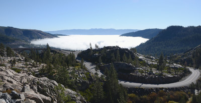Old Donner Pass Road..and Donner Lake under fog.
