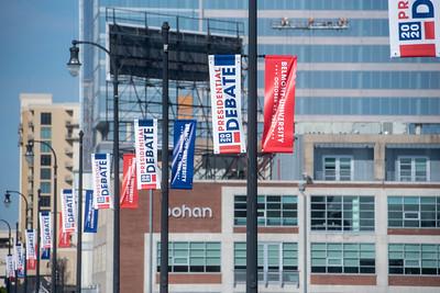 Debate 2020 signs in downtown Nashville