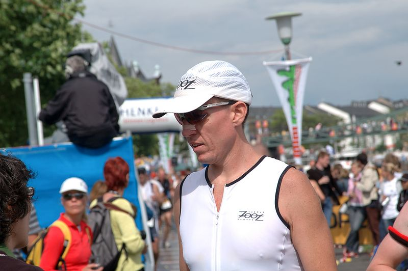 Ironman Germany 2004 Rick to wife 'I will make it'[#Beginning of Shooting Data Section]<br /> Nikon D70<br /> Focal Length: 105mm<br /> Optimize Image: Normal<br /> Color Mode: Mode Ia (sRGB) <br /> Noise Reduction: OFF<br /> 2004/07/11 10:30:23.8<br /> Exposure Mode: Aperture Priority<br /> White Balance: Auto<br /> Tone Comp: Auto<br /> RAW (12-bit) Lossless<br /> Metering Mode: Multi-Pattern<br /> AF Mode: AF-C<br /> Hue Adjustment: 0°<br /> Image Size:  Large (3008 x 2000)<br /> 1/500 sec - F/10<br /> Flash Sync Mode: Not Attached<br /> Saturation:  Normal<br /> Exposure Comp.: 0 EV<br /> Sharpening: Auto<br /> Lens: 24-120mm F/3.5-5.6 D<br /> Sensitivity: ISO 200<br /> Image Comment: (c) Mark Slifkin 2004               <br /> [#End of Shooting Data Section]